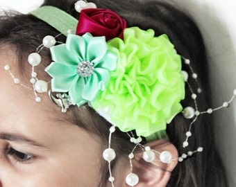 5T to Adult Lime Flower Headband, Flower Girl Headband, Wedding Headband, Luxury Headband, Raspberry Rose Childrens Headband Photo Prop Gift