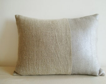 Silver  and Linen Metallic Pillow Cover , Lumbar ,  Decorative Pillow , Throw Pillow , Cushion Cover