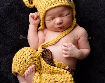 NEWBORN SET, Newborn Leopard Hat, Baby Leopard Hat and Diaper Cover, Sungold Baby Hat, Newborn Photo Prop, Baby Leopard Set, Baby Set, Gift.