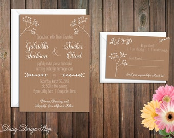 Wedding Invitation - Greenery Sketches on Textured Background - Invitation and RSVP Card with Envelopes
