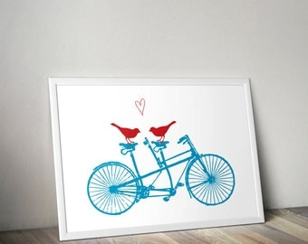 Art Print - Bicycle Two-Seater with Birds and Heart - 8x10 or Larger in Your Choice of Colors