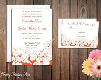 Wedding Invitation - Flowers Sketch in Customizable Colors - Vintage Botanical Garden - Invitation and RSVP Card with Envelopes