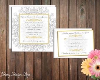 Wedding Invitation - Vintage Filigree Swirls in Silver Gray and Gold - Invitation and RSVP Card with Envelopes