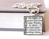 book pendant - Sherlock Holmes Watson The Game is Afoot