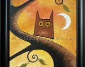"Who? 8"" x 10"" print of an original acrylic painting by Owen Klaas tree owl moon orange brown green"