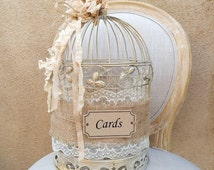Birdcage Card Holder, Shabby Chic Birdcage, Wedding Gift Box, Rustic Card Holder, Birdcage Decor, Wedding Decor, Money Box, Wedding Birdcage