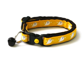 Halloween Cat Collar - Cute Ghosts on Yellow - Breakaway Cat Collar - Kitten or Large size