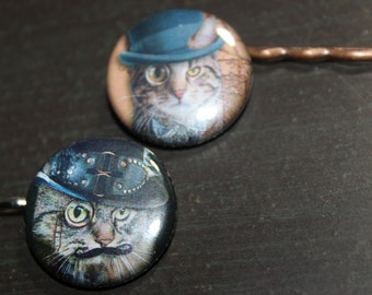 Cat Lover Steampunk Cat Hair Pins Stocking Stuffers