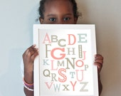 8x10 Modern Alphabet print in pinks and grays