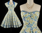 Vintage 1950s Dress / 50s Cotton SUNDRESS Blue Green Floral BOLERO 2pc Dress Set Full Swing Skirt SWEETHEART Pinup Cocktail Party Xs Small S