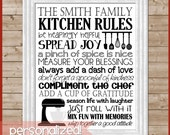 Kitchen Rules Subway Art, Family & Life Rules PERSONALIZED -  Printable