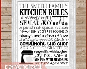 Kitchen Rules Subway Art, Kitchen Wall Art, Kitchen Decor, Baking Art, Kitchen Aid, Family Motto, Family Rules, PERSONALIZED -  Printable