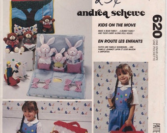Doll Carry House Bear Family Pattern Bunny Family Rabbit  1989  McCalls 620 or 4208