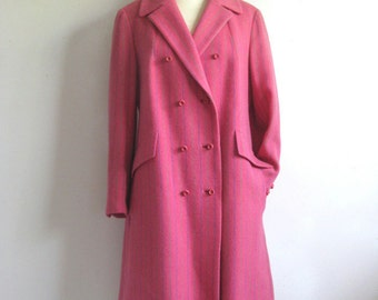 Vintage 1960s Wool Coat Pink Stripe Winter Three Quarter Length 60s Coat Medium