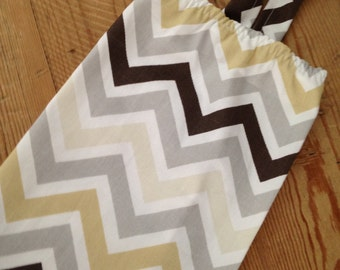 Fabric Plastic Grocery Bag Holder - Modern Chevron - Tones