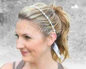 Simple Pearl Bridal Headband  with Swarovski Crystals - Wedding, Preppy, Minimalist - More Colors Available