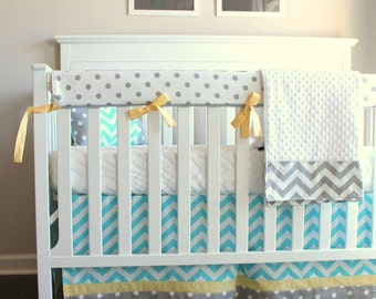 Chevron blue and yellow bumperless crib rail bedding collection.