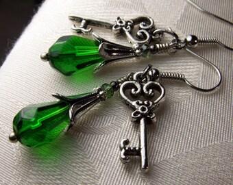 Emerald Green Crystal Skeleton Key Charm Steampunk Earrings, Antiqued Silver Filigree, Titanic Temptations Vintage Victorian Bridal Jewelry