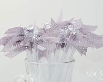 Rosy Lavender with Silver Ribbon Cocktail Stirrers - 25 count