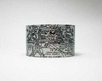 Vintage Paris France Map Cuff Bracelet Unique Gift for Women