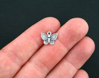 10 Butterfly Charms Antique Silver Tone Small Sized- SC3397