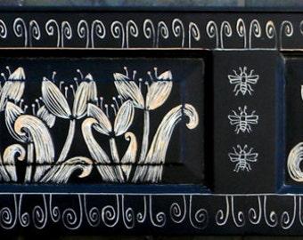 Folk Art Tulips on Antique Shutter with Original Hardware