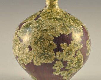 Violet, Yellow, and Green Crystalline Glazed Porcelain Vase
