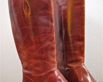 Burgundy Brown Tall Leather Classic Riding Boots