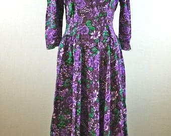 Purple Floral 3/4 Sleeve Dress