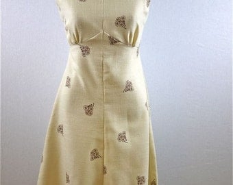 Cream and Brown Bouquet Cowl Neck Dress