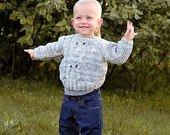 Baby Toddler Boy Kids Children Sweater, hand knitted Grey, cable knit owl pattern, wool warm Winter Fall 9-12-18-24 months 2T 3T 4T 5T 6