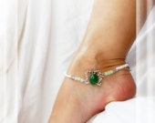 New Beginnings Green Butterfly Anklet White w Jade Ankle Bracelet Bridal Jewelry Garter Ceremony Anklet