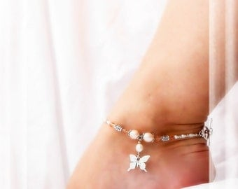 Wings On My Feet Butterfly Anklet Blush Crystal Genuine Pink Pearl Ankle Bracelet