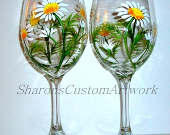 Springtime White Daisies Hand Painted Wine Glasses Set of 2 / 20 oz. Handpainted Wine Glasses