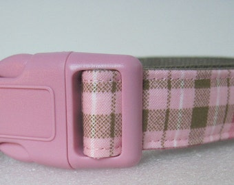 Perfectly Pink Plaid Adjustable Pet Collar Small to Medium size Custom Dog Collar by Collars for Canines