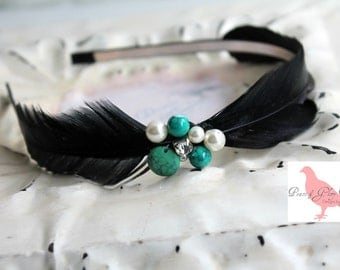 Black Feather Turquoise Feather Headband - Crystal Bridal Headband - Feather Fascinator - Bridesmaids - Many Colors