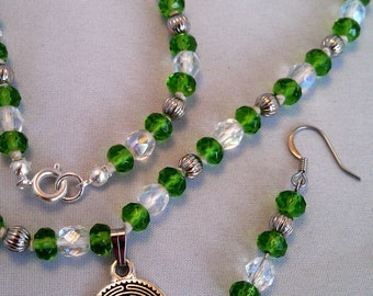 Crystal and Glass Necklace and Earrings with Labyrinth Pendant