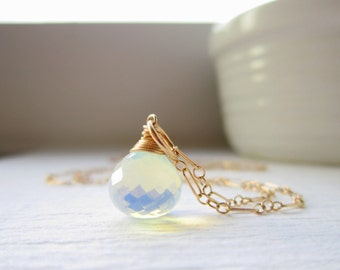 Lab Created Opalite - Sea Opal Charm - 14k Gold Pendant - Faceted Stone Pendant - 14k Gold Charms - Wire Wrapped Jewelry