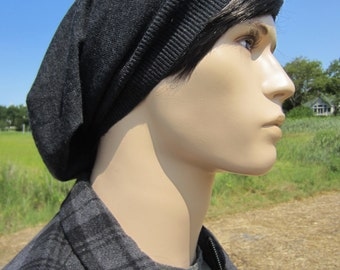 Men's Merino Wool Slouchy Beanie Charcoal Gray Hat Long Slouch Back Knit Tam A1195
