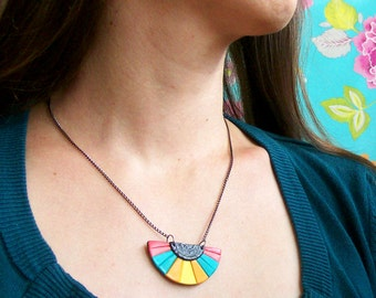 Bubblegum minimalistic rainbow charm necklace pink blue yellow bohemian Aztec inspired pendant necklace