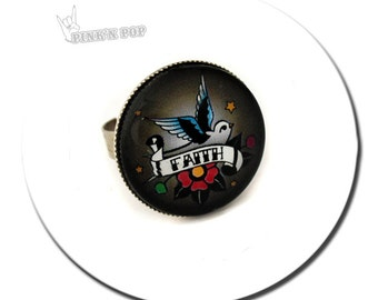 Round Ring // Tattoo Swallow Faith -- Featuring Original Artwork // Round Pad Ring / Glass cabochon