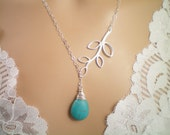 Turquoise Sterling Silver Lariat, Natural Turquoise and solid Sterling Silver Leaf Necklace
