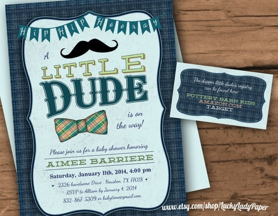 bow tie and mustache bash dapper little dude baby shower invitation