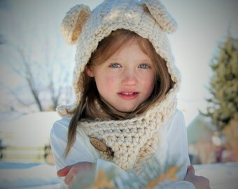 Bear Hooded Cowl Hat - Teddy Bear Cowl - Hooded Scarf Hat - Tan Bear Cowl Hat - Children's Hooded Cowl Photography Prop  -by