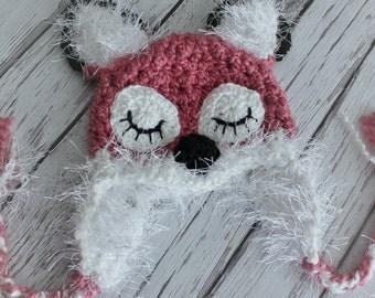 Sleepy Fox Baby Hats - Red Fox Hat - Baby Fox Hat - Baby Girl Hat - Halloween Costume - Baby Costume Hat --by JoJosBootique