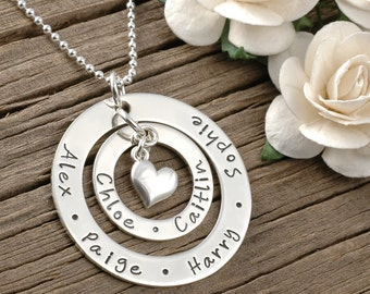 Large Family  - Personalized -  Double Washer Style Necklace - Heart Charm, gifts for mom