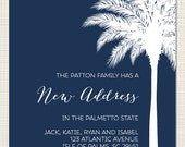Palm Tree Silhouette, South Carolina Moving Announcement, New Address Cards, Custom colors and text by Palmetto Greetings