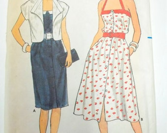 Womens Sundress & Jacket Pattern, Butterick 4969, Un Cut, Size 14 thru 18, Fast and Easy, Sewing Notions