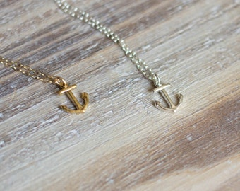 Tiny Anchor Necklace  - Gold Vermeil or Sterling Silver - Layering Necklace - Nautical Sailor Necklace Navy Necklace - Graduation Gift