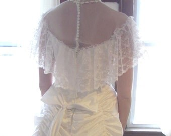 Winter White Victorian Revival Wedding Gown/ Bustle and Bows Gown/ The Christianna Gown